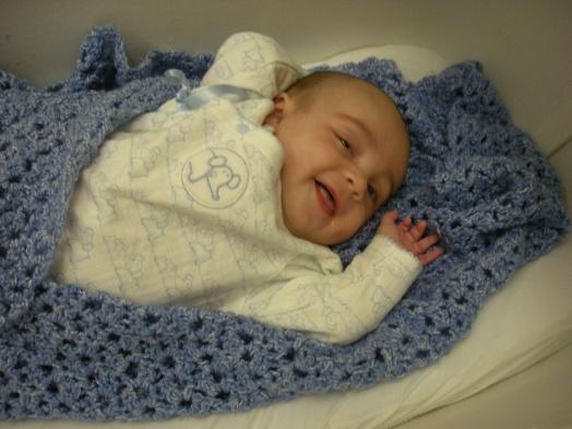 Baby Blue Blanket and Blue Elephant Pajamas