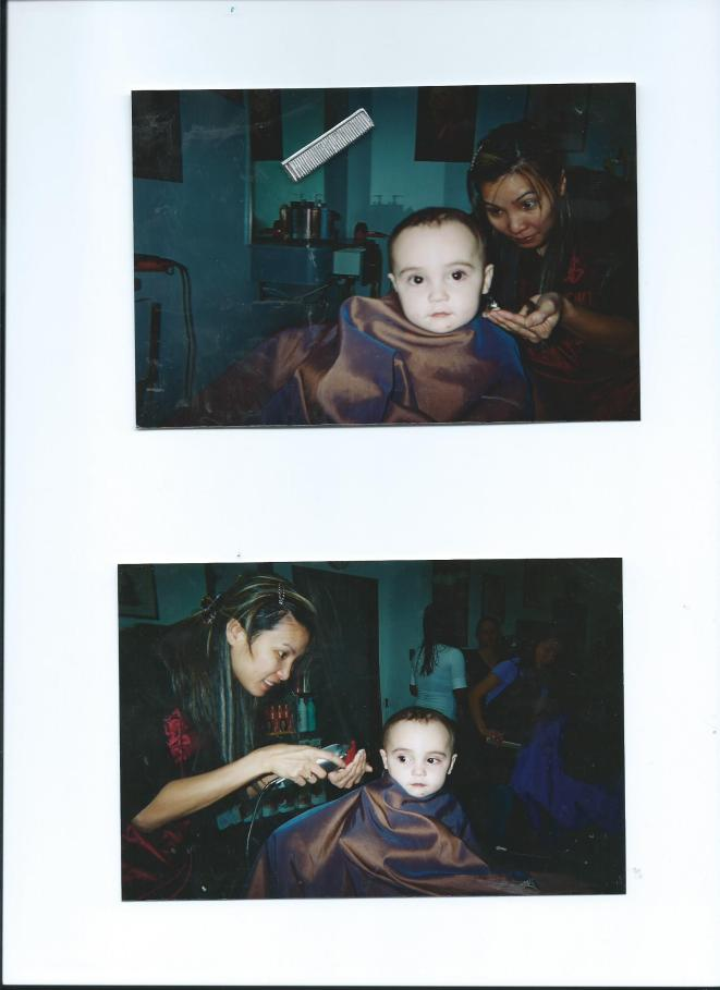 JULIAN'S FIRST HAIRCUT WITH KIM.11 MOS. OLD