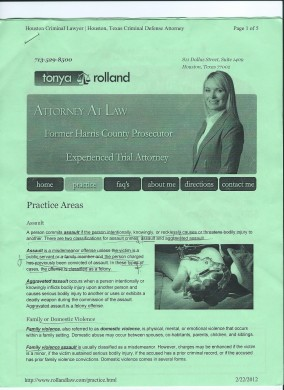 Tonya Rolland.Assault Attorney.False Imprisonment.Nov.30.2007 001