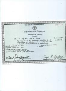 Apprentice Teacher License for Joni Faith Saloom State of Tennessee