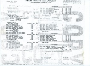 College Transcripts from Bryn Mawr, Vanderbilty, MTSU pg.1 001