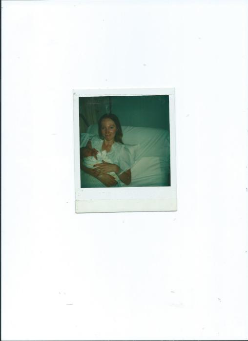 Grandma Sue Holding Baby Joni in the Hospital.July 29, 1978