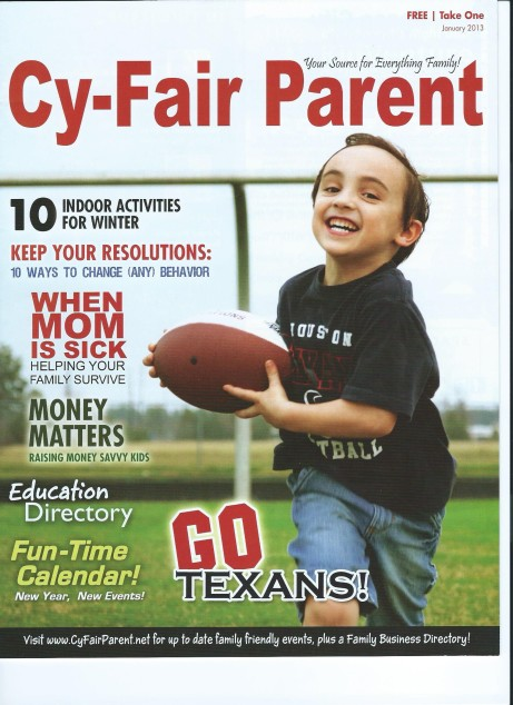 Julian Goes Texan January 2012 Football Edition of Cy-Fair Parent Magazine, almost 6 years old, Kindergarten