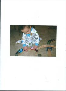 Julian Playing with Thomas the Train Set from Mommy, Birthday Gift