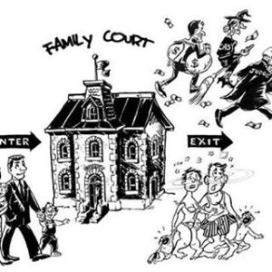 JUSTICE.CARTOON.COURT.MONEY.PEOPLE RUNNING.NJ FAMILY COURT REFORM.FACEBOOK