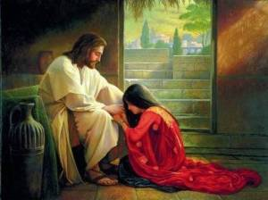 PRAYERFUL MARY AT JESUS FEET