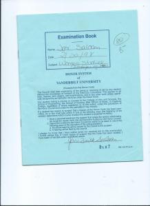 Vanderbilt University Blue Book Exam.02.20.98.Women's Studies
