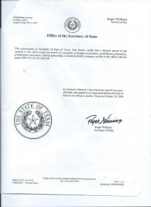 STATE OF TEXAS IS NOT A CORPORATION.2 OF 2