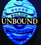 JUSTICE.COP BADGE WITH WORD UNBOUND.LAWLESS AMERICA.index