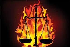 JUSTICE.SCALES ON FIRE.NJCOURTCORRUPTION BLOG.flaiming